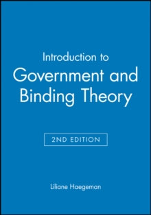 Introduction to Government and Binding Theory, Paperback Book