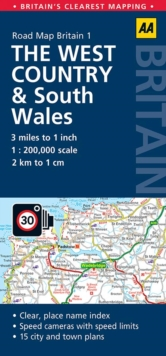West Country & Wales Road Map, Sheet map, folded Book