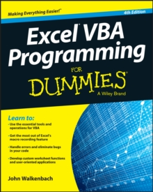 Excel VBA Programming for Dummies, 4th Edition, Paperback Book