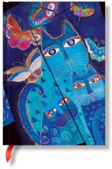 FELINES BLUE CATS BUTTERFLIES MIDI JOURN, Hardback Book