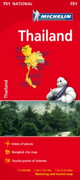 Thailand Map, Sheet map, folded Book