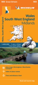 Wales, the Midlands, South West England, Sheet map, folded Book