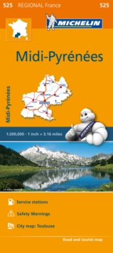Midi-Pyrenees Map 525 : Michelin Regional Maps: France, Sheet map, folded Book
